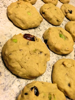 sweet potatoes thanksgiving soft cookies with pistachio nuts and cranberries