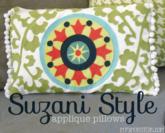 Suzani-Style Applique Pillows at my3monsters.com