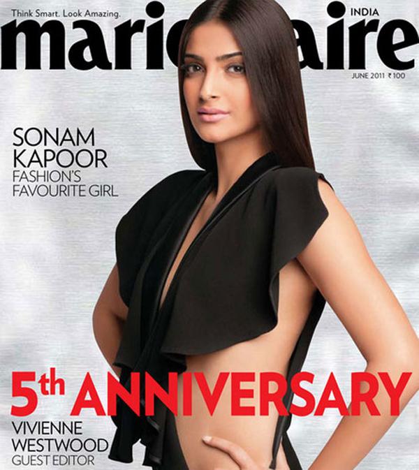 Sonam Kapoor sizzles in Marie Claire Magazine Cover - June 2011