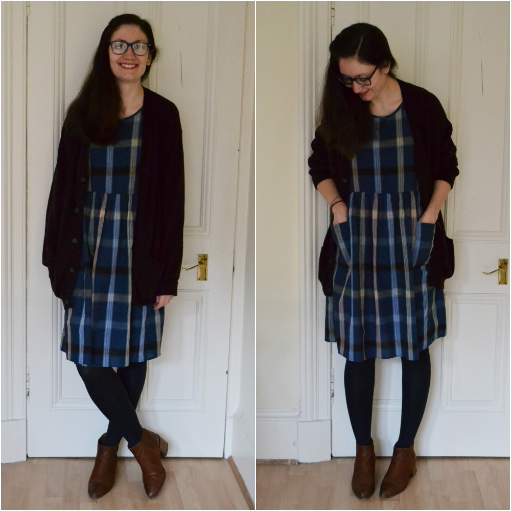 check plaid dress charity shop navy blue pockets cardigan m&s