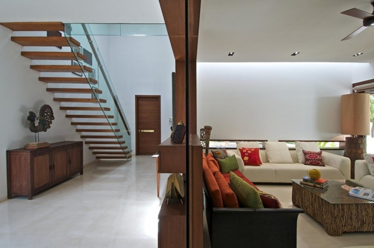 Hallway of Courtyard Home by Hiren Patel Architects