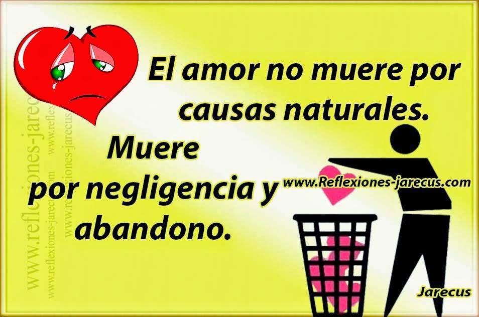 El amor no muere por causas naturales. Muere por negligencia y abandono.