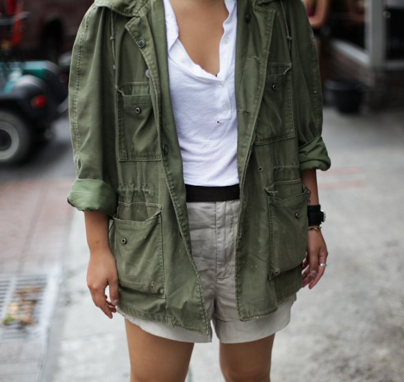 vintage military jacket, boots, dr martins, home made shorts for women