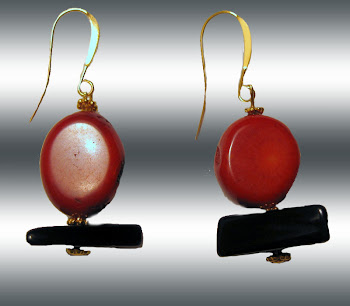 Oval Red Coral Stones and Black Trapezoid Obsidian Earrings Large XL