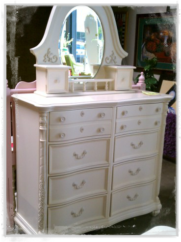 Beautiful Cottage Chic White Dresser With Mirror. So Pretty!