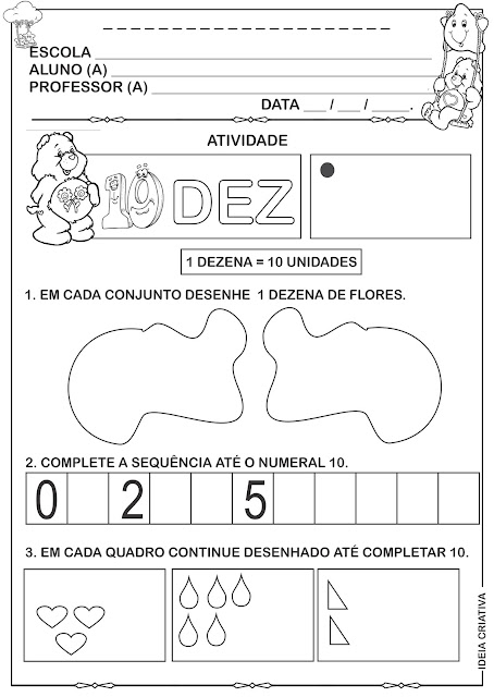 Atividades numeral 10, dezena  sequência e  conjunto