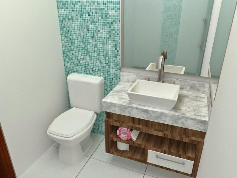Banheiros com pastilhas  37 modelos decorados  Decor Alternativa -> Banheiro Pequeno Com Pastilhas De Vidro