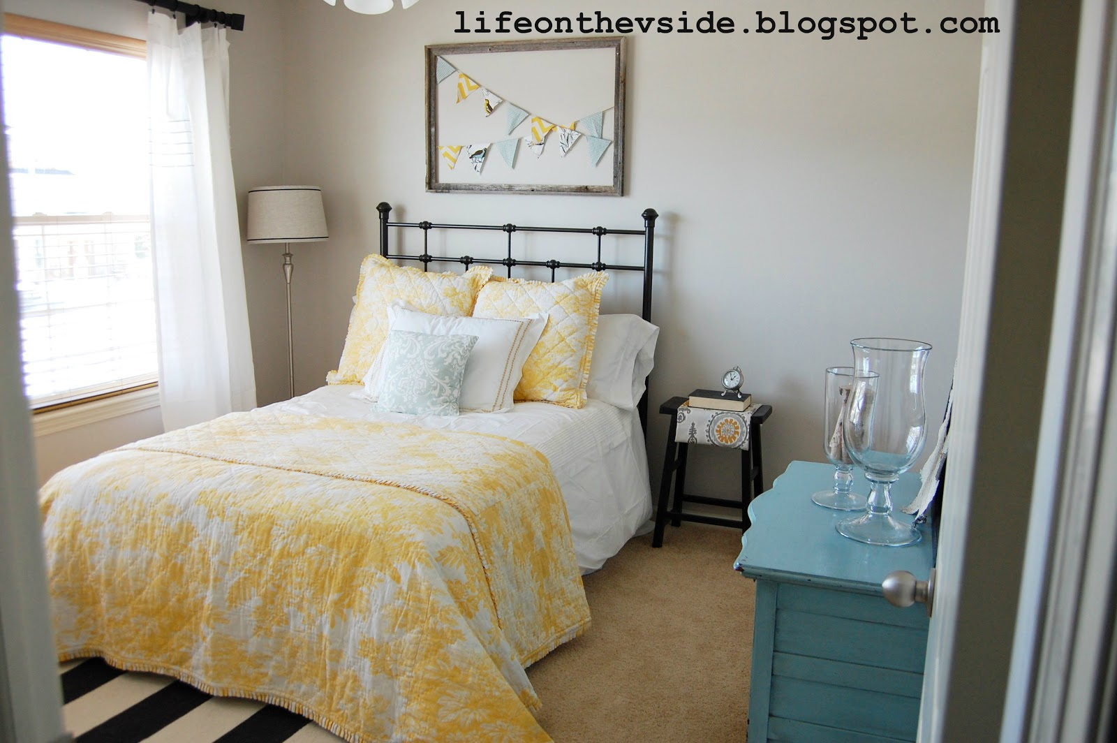 on the v side: guest room redo - before & after