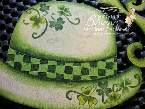 detail painted  green hat lapel pin for St. Patrick's