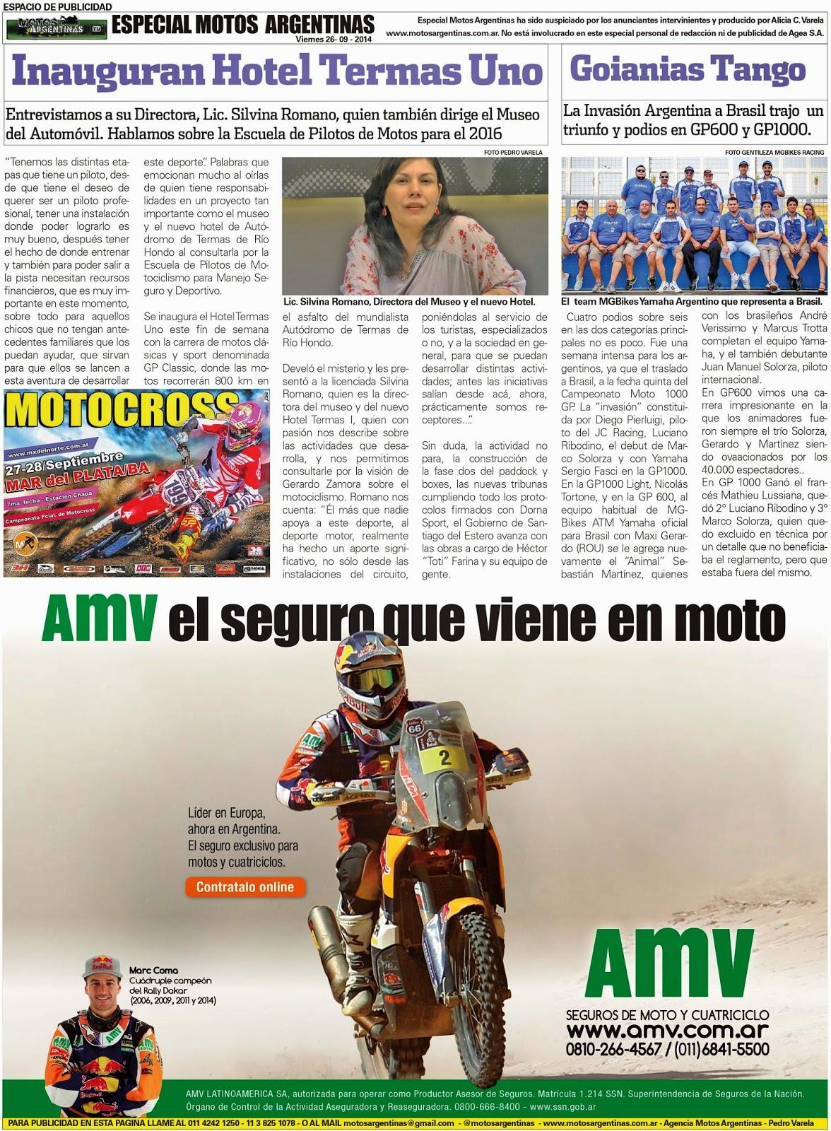 Especial Motos Argentinas en Diario Olé del 26 de Septiembre de 2014