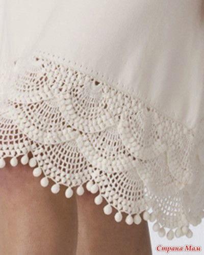 Patron de puntilla usada como terminacion de falda de tela