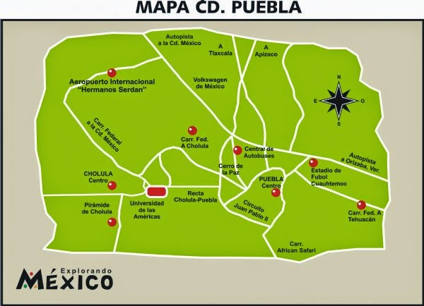 Map of Puebla City, Mexico