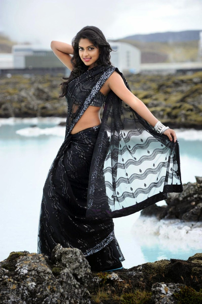 Amala Paul in Black Netted Saree with Siolver border - Nayak Movie Stills