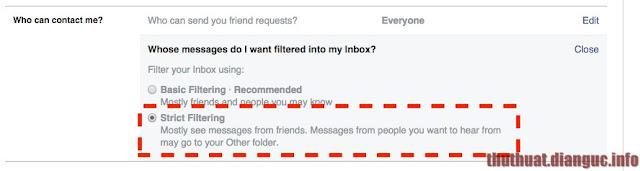 chan tin nhắn rác facebook
