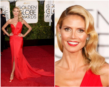 Heidi Klum's look, in Atelier Versace at the Golden Globes 2015