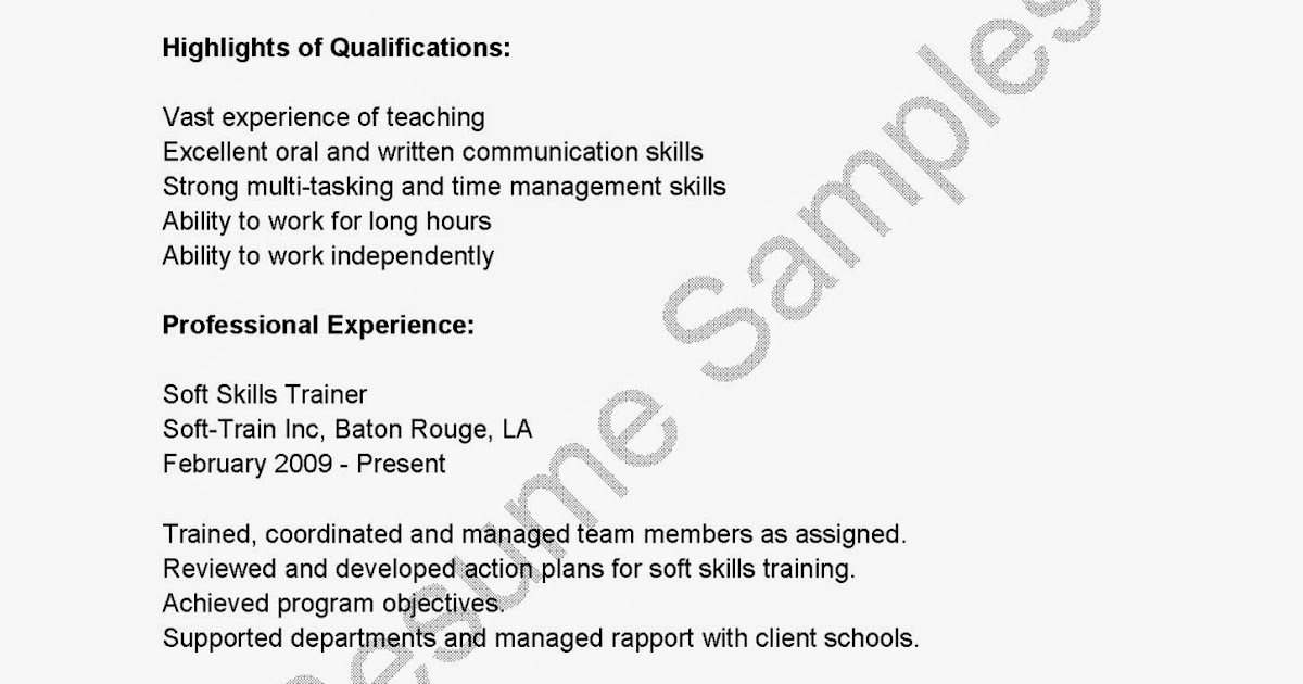 resume samples  soft skills trainer resume sample