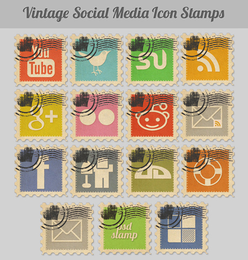 Vintage Social Media Stamps: Icon Pack