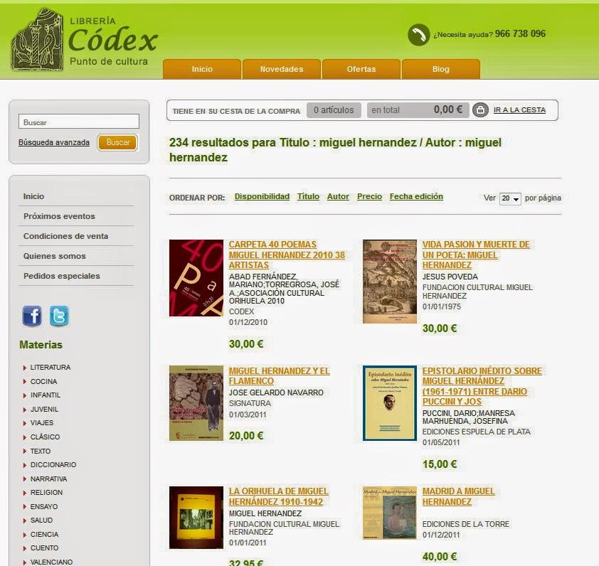 Librería especialista en Miguel Hernández