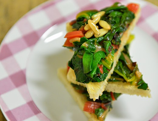 Bruschetta with Swiss Chard, Pine Nuts and Currants