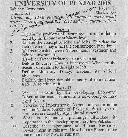 icse      class   th Economic Application specimen question paper           Management