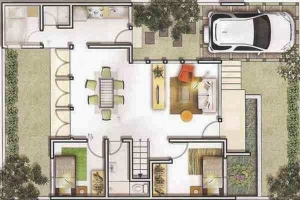 denah rumah 2 lantai ukuran lahan 10 x 11 m home design
