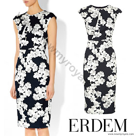 Sophie, Countess of Wessex style ERDEM Analena Dress and PRADA Suede Pumps