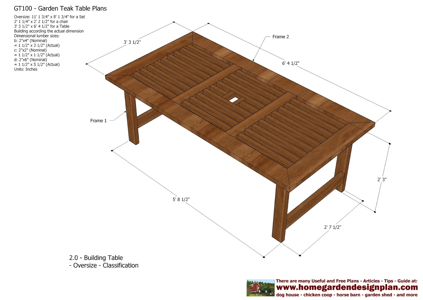 Home garden plans gt100 garden teak tables for Patio plans free