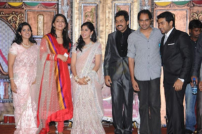 Karthi reception photo with Anuska