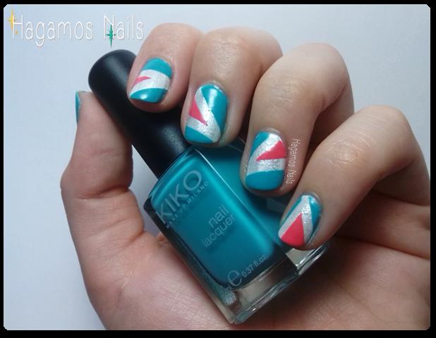 Triángulos rosas y azules desiguales HN