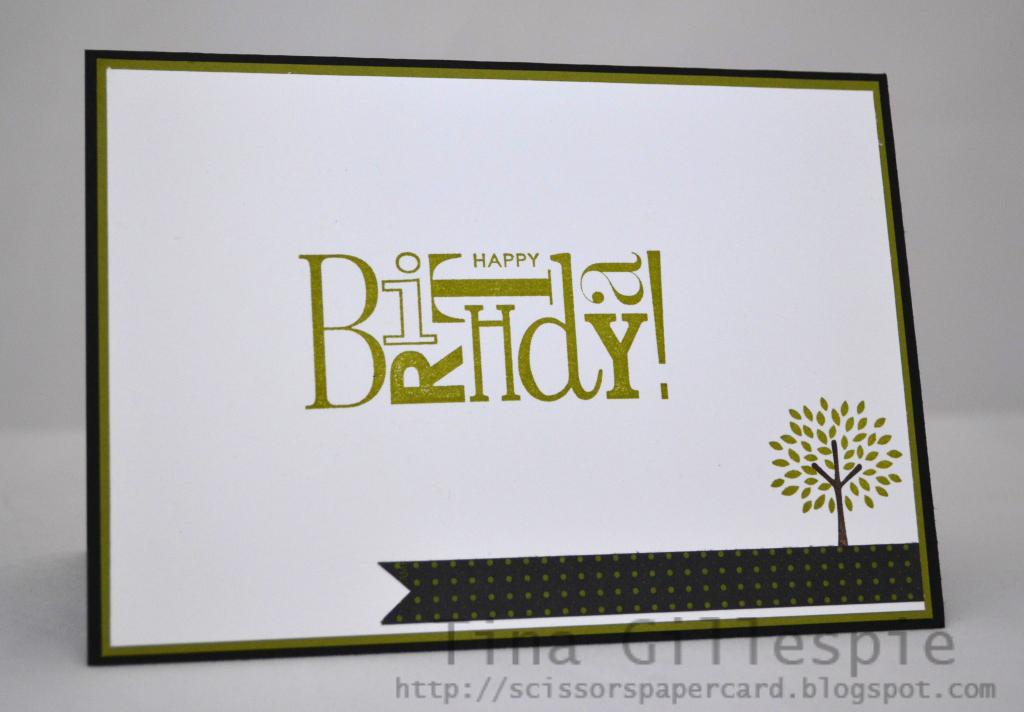Scissors Paper Card Trendy Trees Birthday Card