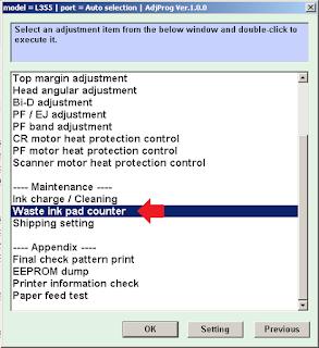 Pilih Waste Ink Pad Counter untuk Melakukan Reset
