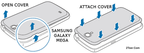 Samsung Galaxy Mega GT-I9205/GT-I9200 Open Attach Casing Remove Back Cover