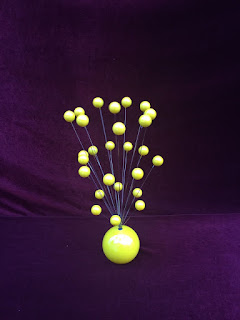 Atomic Ball Kinetic Mobile Sculpture Retro 70s Mid Century Yellow Color