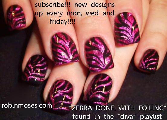 Magenta Nails Pink And Black Zebra Nail Zebra Foil Nail Zebra
