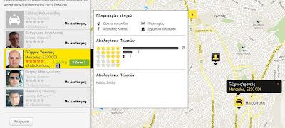 Αξιολόγηση οδηγών ταξί και αμαξιών σε Taxibeat