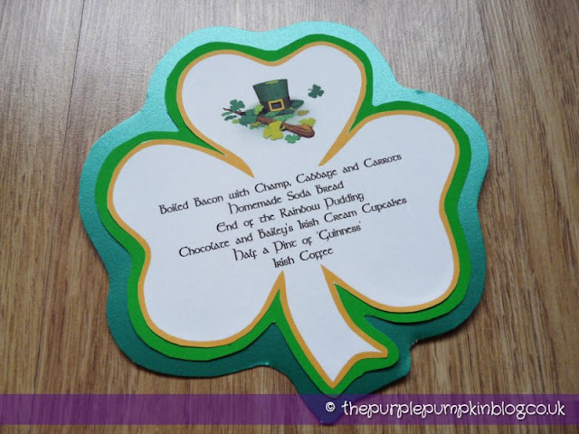 St. Patrick's Day Menu Design