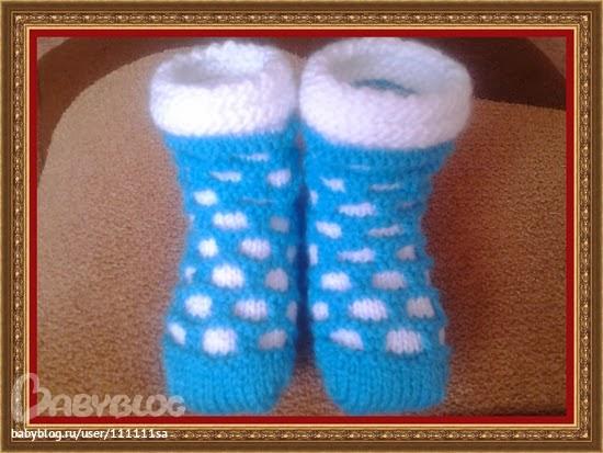 Вязание спицами для детей от 1 до 3 лет для девочек носочки 75
