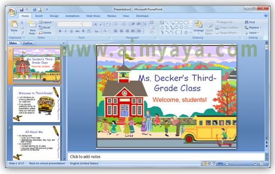 Gambar:  Presentasi powerpoint yang menggunakan template download