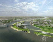 Figuur 0.2: Rivierverruiming, dijkversterking en ruimtelijke adaptatie in een krachtig samenspel bij Nijmegen-Lent. Pag. 9 in Hotspot  Grote rivieren: regionale adaptatiestrategie
