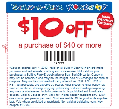 photograph regarding Build a Bear Coupons Printable named Canadian Day-to-day Specials: Acquire A Endure Discount coupons: Help you save $5 Off $25