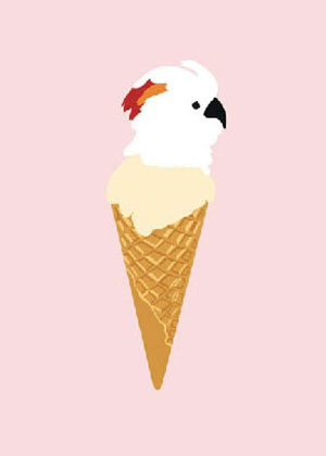 Parrots in ice cream cones Print by Alice Berry