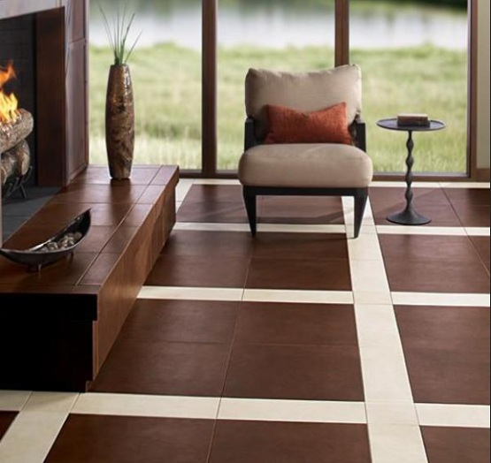 Ordinaire Living Room Ceramic Tiles Flooring Design Idea.