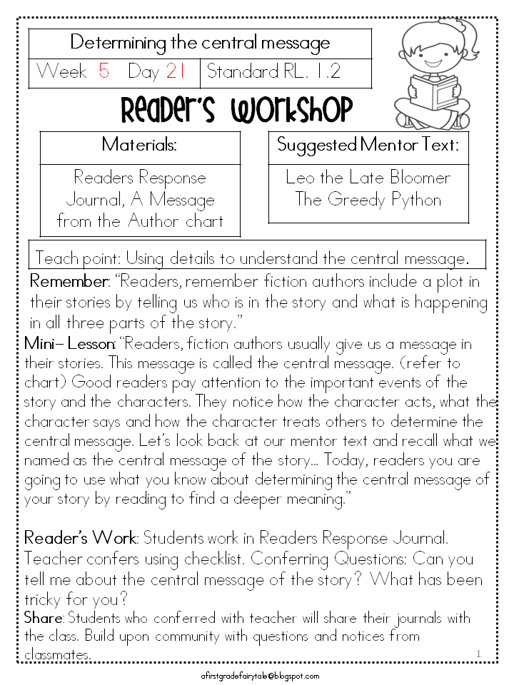 Readers Workshop For 1st Grade Unit 1 Is Here And On Sale