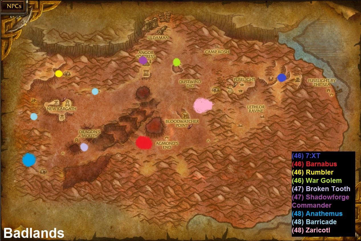 Wow rare spawns badlands rare spawns click map to enlarge gumiabroncs Gallery