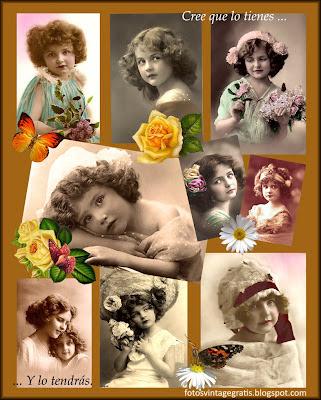 collage vintage con fotos de niñas antiguas sobre fondo ocre