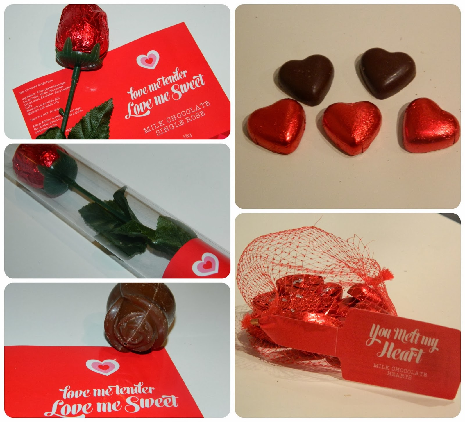Home Bargains Valentine's Day Heart Shaped and Rose Chocolates