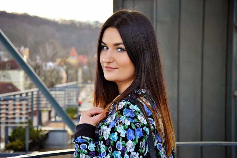 Floral sweatshirt & leather skirt