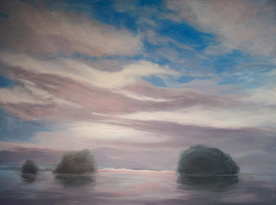 Sky, Rocks, Beach, work in progress, Katherine Kean, oil on linen, atmospheric, Hawaii, clouds