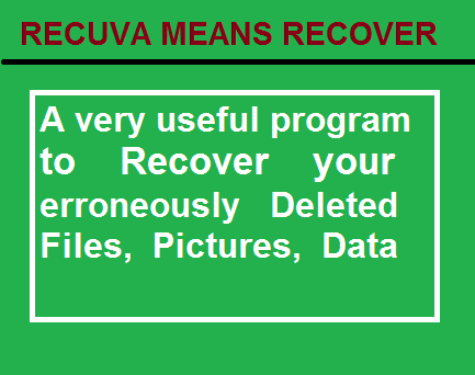 RECUVA-a Small free and easy to use software