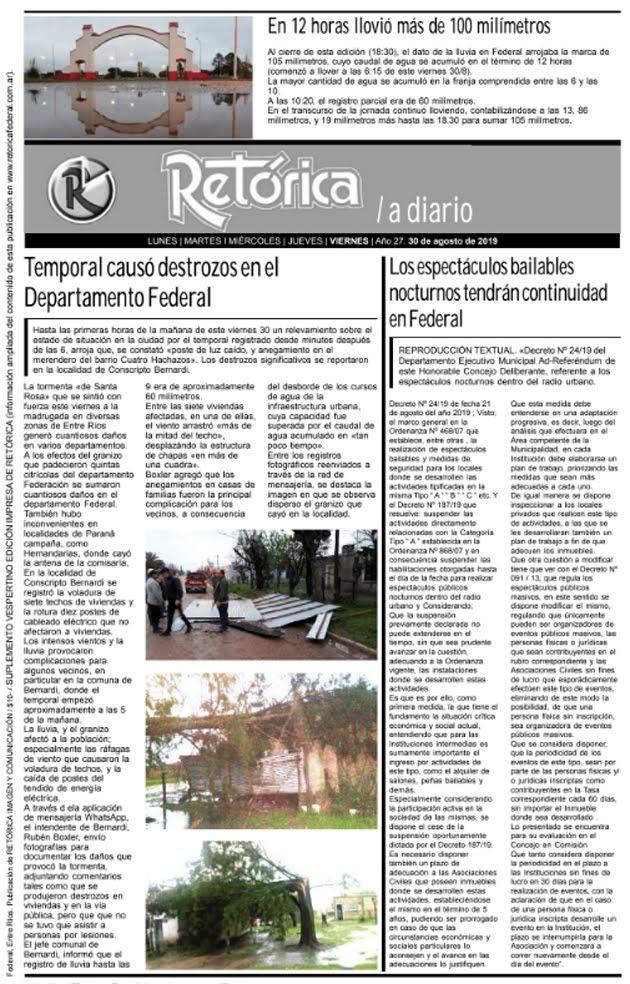RETÓRICA 30-8-2019 EDICIÓN IMPRESA